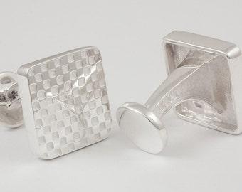 White Checkerboard Cufflinks, Sterling Silver