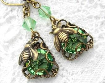 Peridot Bumblebee Charmed Glass Dangle Earrings