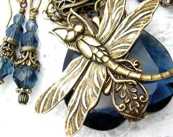 Blue Velvet Wings - Dragonfly Necklace Vintage Montana Blue Glass Jewel Antiqued Brass Necklace Earring Set