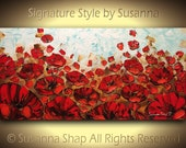 ORIGINAL Art Red Poppy Large Landscape Oil Painting Home Decor Abstract Palette knife Impasto by Susanna