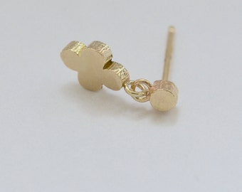 Tiny 14k Gold Twig Dangling Post Earrings Small Wood Posts Twig Studs