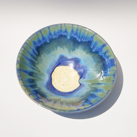 Handmade Pottery - Ceramic Serving Bowl - Stoneware Bowl - Ceramic Bowl - Clay Bowl - Blue Bowl - Serving Bowl - Small