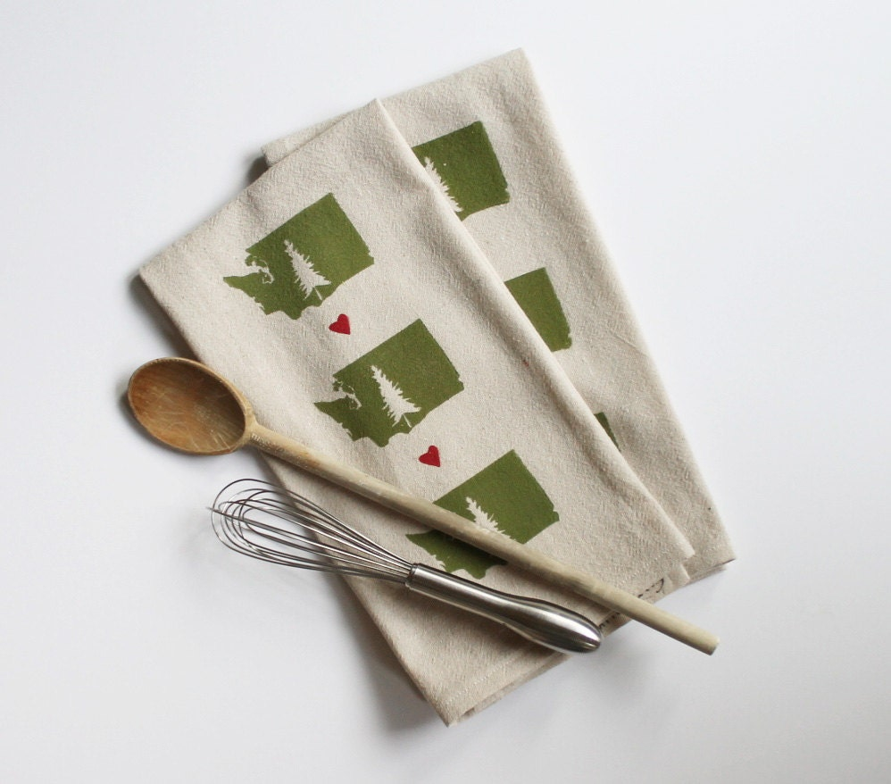 Tea Towels Printed For Schools: Love From Washington State-Block Printed Tea Towel-Two Color