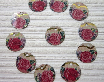Recycled Tin Discs Charms Tokens Tags -  Metal Rose Set- Outsider Art Jewelry Supply