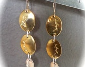 Brass and Sterling Drop Earrings with Leaf impression - .925 Sterling Lever Back Earwires