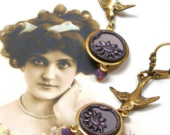 1800s Antique BUTTON earrings, Victorian purple flowers with birds in gold. Button jewellery. Present, gift.