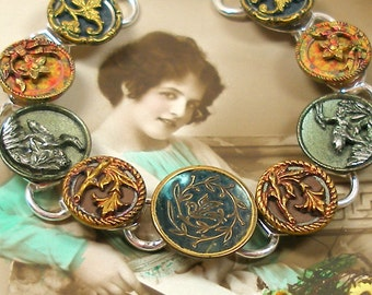 "French BUTTON bracelet, Victorian BIRDs & flowers, 7.75"" Antique button jewellery."