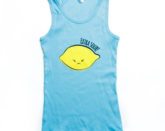Turquoise Blue Extra Sour Lemon Tank Top 8Y 10Y 12Y ON SALE