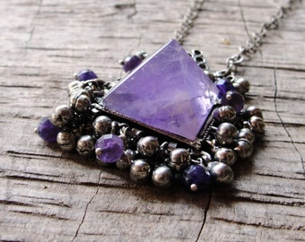Pyramid Amethyst Necklace Kuchi Necklace Healing Stone, Purple Shades, Healing Stone, Tribalfusion