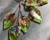 Lampwork glass beads leaf headpins handmade by lorilochner artisan jewelry and textile design supply