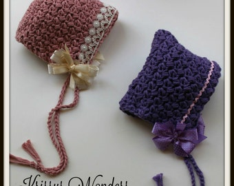 Crochet Hat Pattern - Bonnet Pattern - Pixie Hat Pattern - Lil Bo Peep Crochet Pattern - Preemie NB 3mo