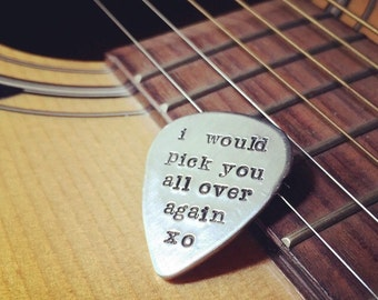 Custom Hand Stamped  Guitar Pick - Pewter