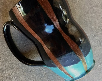 Sexy stripes curvy mug, coffee mug, tea cup, handmade pottery mug