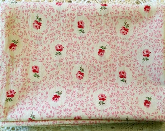 Tiny Cameo Rose Vintage Pillow Tick - Pillow Cover - Pinks & Green on White Flowers - Zipper Pillow Case - Farmhouse Linens -