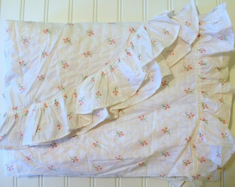 Vintage Cotton Plisse Bedspread - Pink Tulips Flowers on White with Ruffles - Cottage Chic -Twin Spread - Full Coverlet Unused