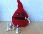 Felted Wool  Whatnot/Ring  Bowl, Hiding Place,  Desk Accessory, Nom Nom Norm, Handmade, Red, Valentines Day
