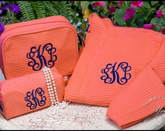Matching Monogrammed Robe and Cosmetic Bags - Personalized shower set, monogrammed bridesmaids robes and makeup bags, robe matching sets