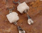 GLACIER - Sparkling White Drusy Quartz Beaded Earrings With Blue Topaz Briolettes