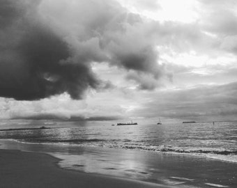 Cloud chaser - black and white beach photograph