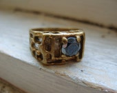 RESERVED Vintage Chunky Brass Ring with Hematite Accent Stone Size 9 1/2