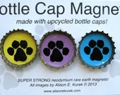 RESERVED for June Paw Prints  - Paw Print Bottle Cap Magnets - Packaged Gift Set of 3 -  Refrigerator Magnets