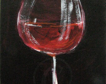 Red Wine Glass Painting - Wine Art - Original ACEO Acrylic Painting