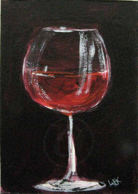 Red Wine Glass Painting Wine Art Original Aceo Acrylic