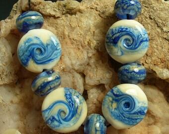 Handmade Lampwork Glass Beads SRA by Catalinaglass   Blue Sky Day