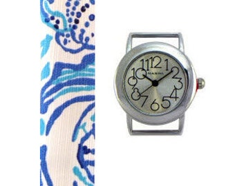 2015 Lilly Pulitzer Lucky Trunks Fabric Wrist Band with or without Silver Watch Face