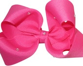 Rhinestone Hair Bow, Hot Pink or Choose your bow color and rhinestone color, made with Swarovski crystal rhinstones