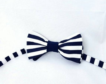 Handmade Navy and white striped adjustable pre tied  bow tie menswear unique neckwear men teen neck tie