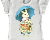 Cute Bunny Girls T shirt, Easter Rabbit girly top, cap sleeved tee, size 2, 4, 6, 8, 10, or 12