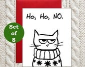 Funny Cat Christmas Cards - Angry Cat and the Ugly Sweater - Set of 8