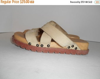 SALE Vintage slip on leather sandals shoes   90's shoes   size 6 US   chunky wedge platform   mad in ITALY