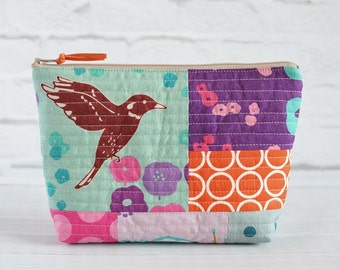 Modern Quilted Patchwork Zipper Pouch Echino Bag Cosmetic Project Bag