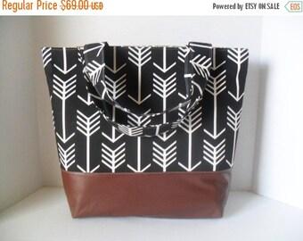 SALE Black Arrow Tote Diaper Bag - Diaper Bag - Arrow Bag - Laptop Bag - Extra Large Diaper Bag -  Beach Bag - Washable - Vegan Leather