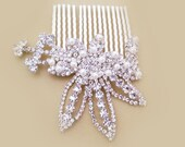 Art Deco Hair Comb, Vintage Bridal Hair Comb, Crystal Wedding Comb Pearl Rhinestone Floral Bridal Hair Piece, Gatsby Bridal Hair Accessory