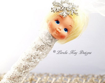 Icicle Baby Ornament Rhinestones Glitzy Christmas Tree Winter Theme Ornament Hanging Assemblage Art Doll