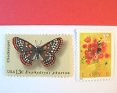 49 Cent Flower Bouquet Love Stamp + Butterfly Stamp, Mail 10 Cards or RSVPs, 1 oz postage stamps unused, Rustic Stamps, Red Flower Stamps