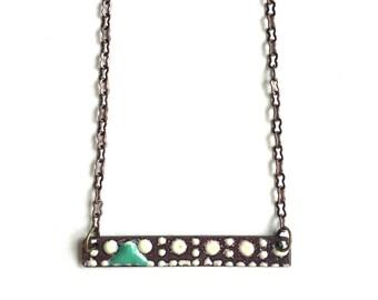 Enamel Rectangle Necklace