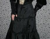 SALE Antique Victorian Black Velvet Ladies Mourning Jacket Bodice