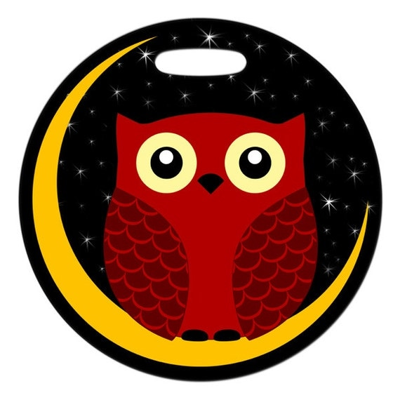Luggage Tag - Night Owl - 2.5 inch or 4 Inch Round Large Plastic Bag Tag