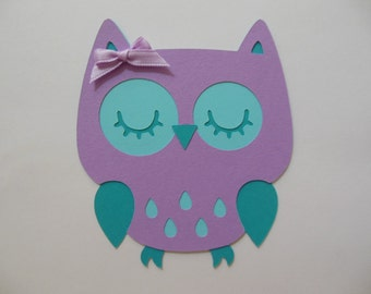 Owl Cutout - Lavender and Aqua - Birthday Party Decoration - Baby Shower Decorations - Set of 1