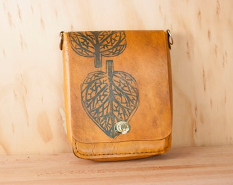 Small Leather Cross body Bag - Shoulder bag in the Leaf pattern - Hand printed leaf pattern in blue and antique tan