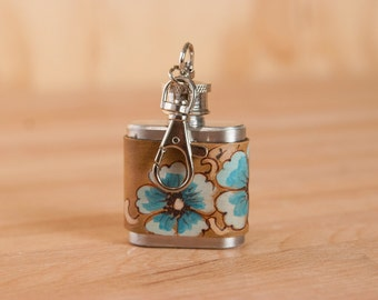 1oz Mini Flask Key chain - Belle pattern with wild roses in turquoise, silver and antique brown