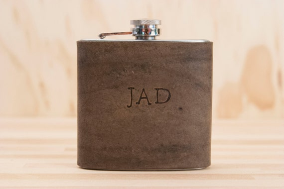 Monogram Flask  - Personalized Leather Flask with initials - Stainless steel and leather in antique black