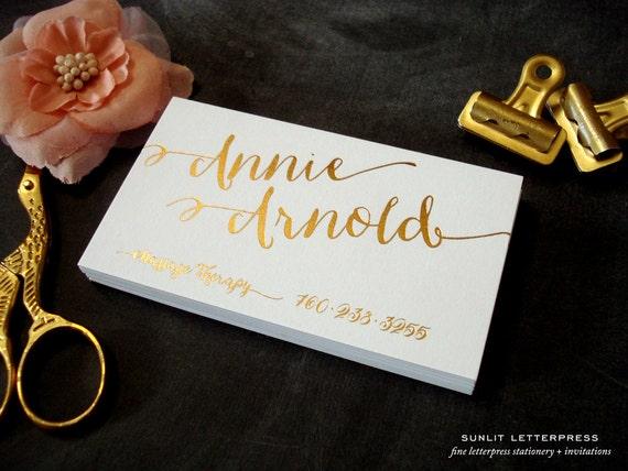 Gold Foil Business Cards Custom Calligraphy Letterpress