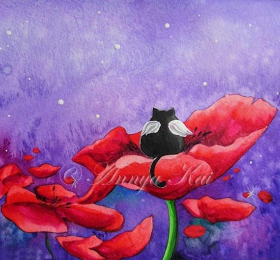Little Angel in a Poppy Field - Night Nursery Art Print for Baby or Kids Room - Home Decor Bedroom Flower Wall Art