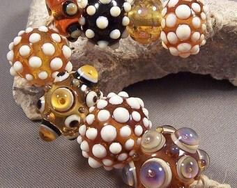 Handmade Lampwork Beads by Monaslampwork - Amber and Ivory - Lampwork Glass Beads by Mona Sullivan Boho Organic Gypsy Bohemian Classic