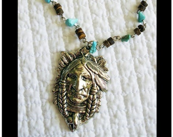"Native American Indian, turquoise necklace..18"" turquoise pendant, gift boxed,indian brave,turquoise, cowgirls, southwest jewelry"